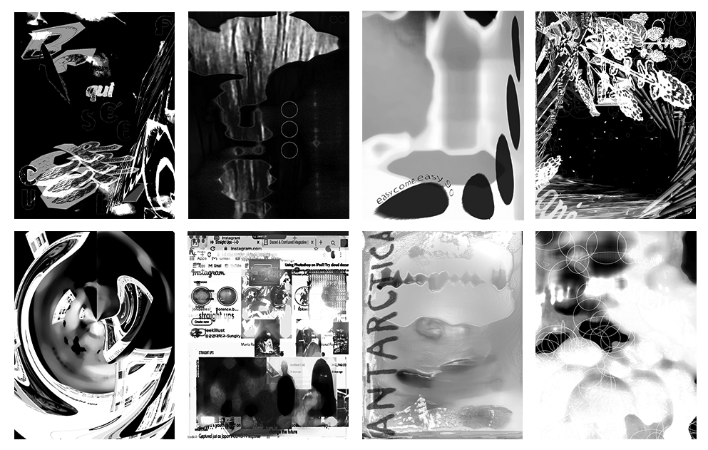 8 black and white images, some are really busy, some have a smooth texture, some are rough and textured