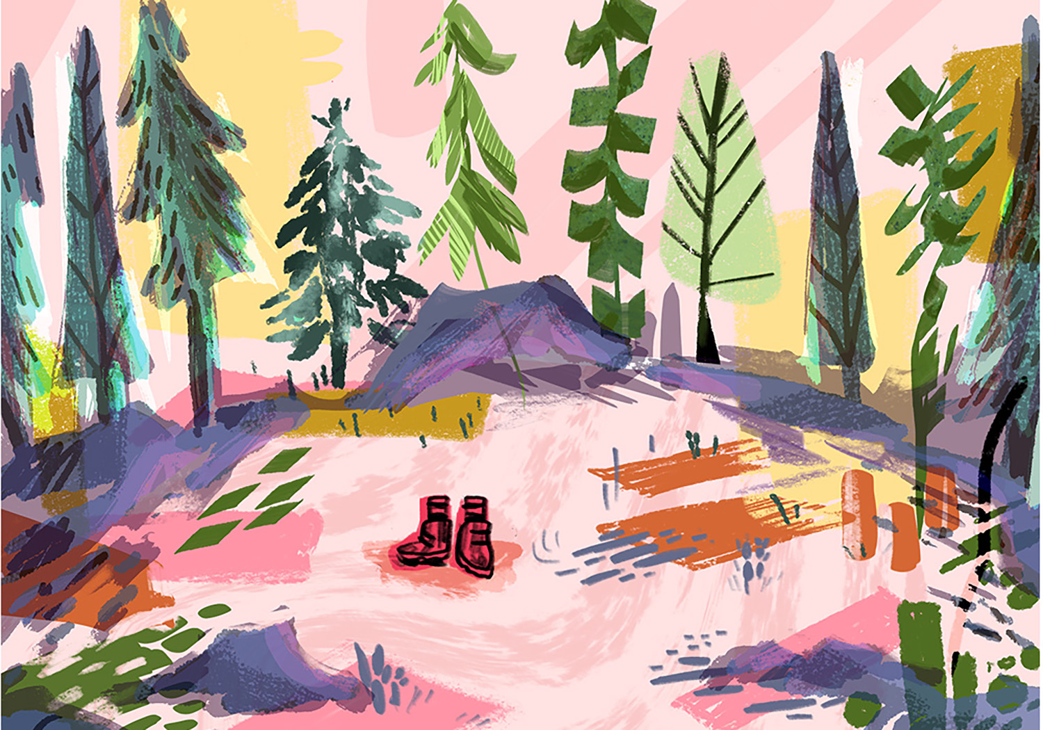 environment study based on seasons change (summer forest) - photoshop
