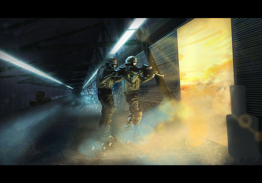 Painting of two soldiers making their way through a dimension door.