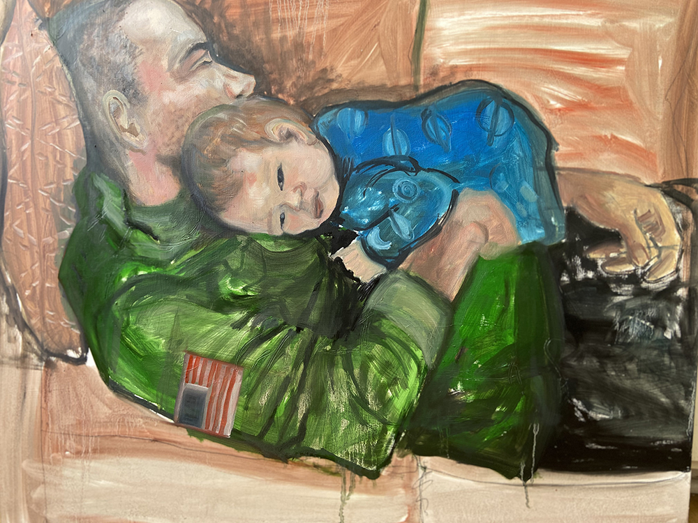 Painting of reclining man on sofa with baby resting on his torso.