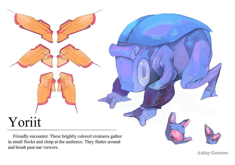 This is part of a project that involved creating concepts for a VR alien zoo. The creature is round and bug like.