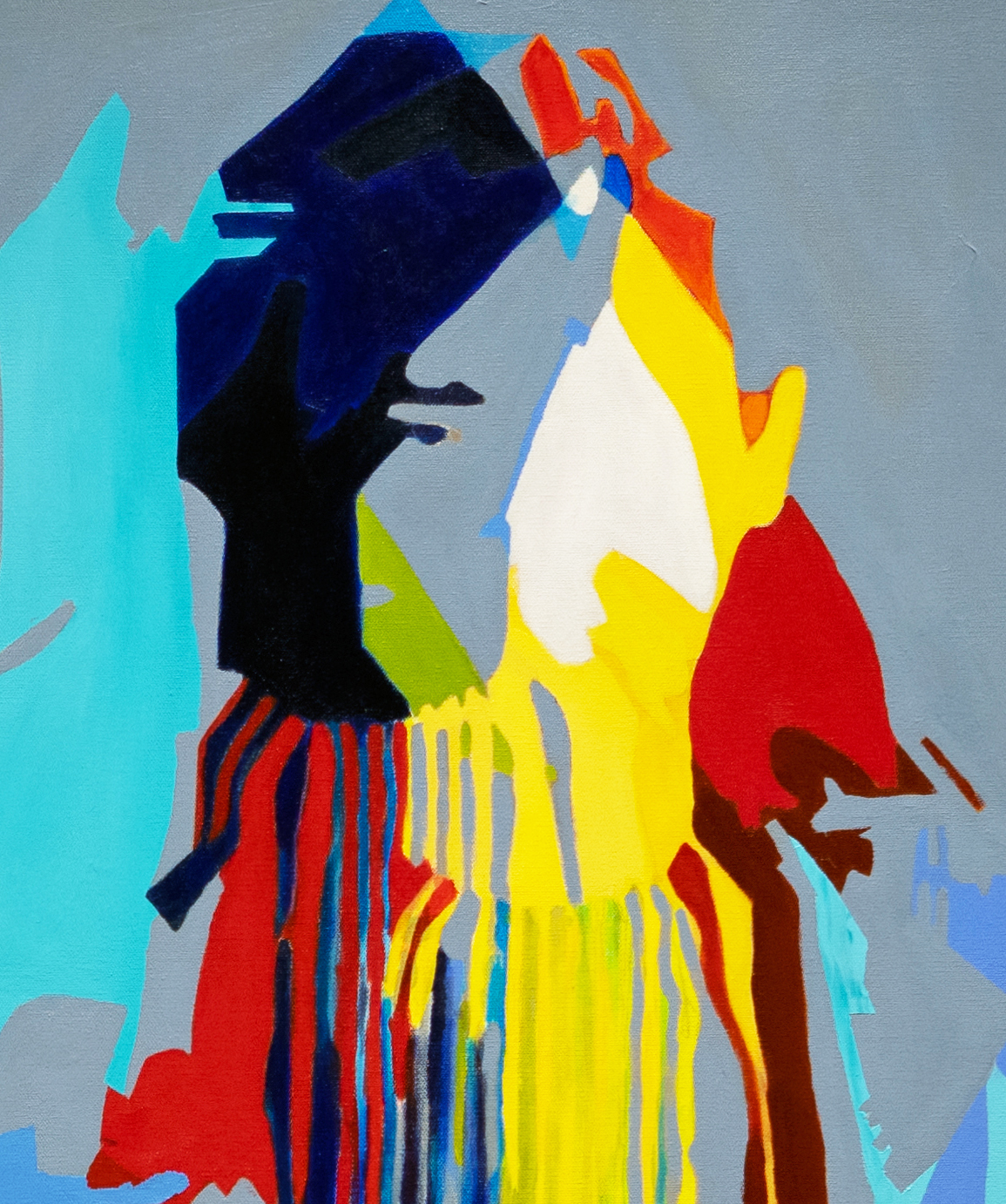Detail image of, 7:30 Resolute, 2019, 36 x 48 inches, acrylic on canvas depicts the silhouette of a female figure with arms crossed.