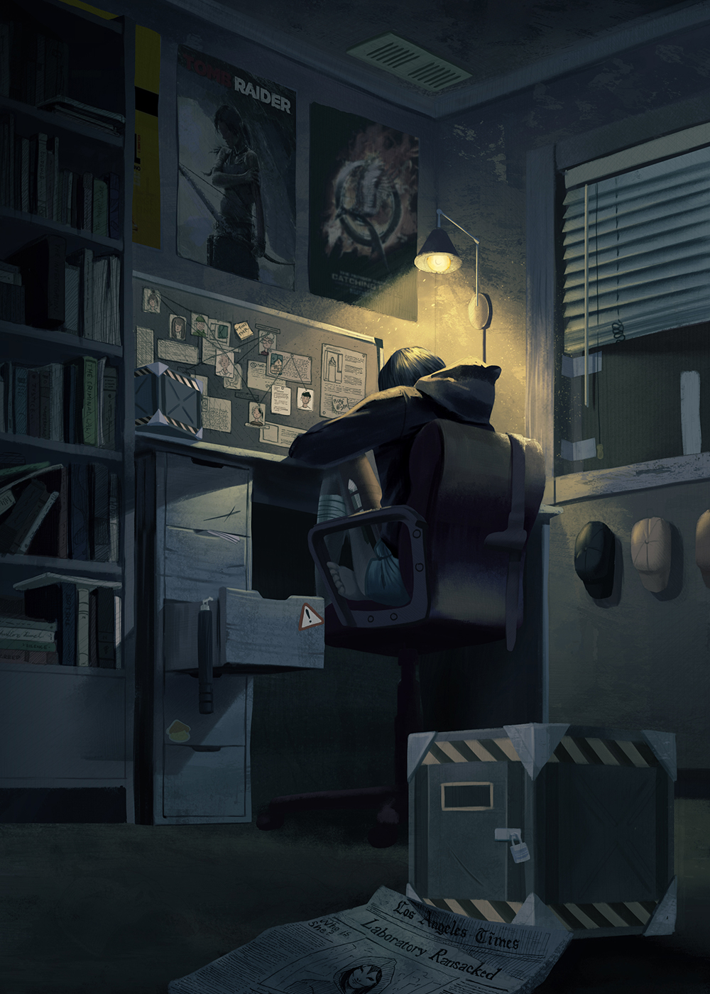 A drawing of Dawn in her darkly lit bedroom as she plans her next scheme