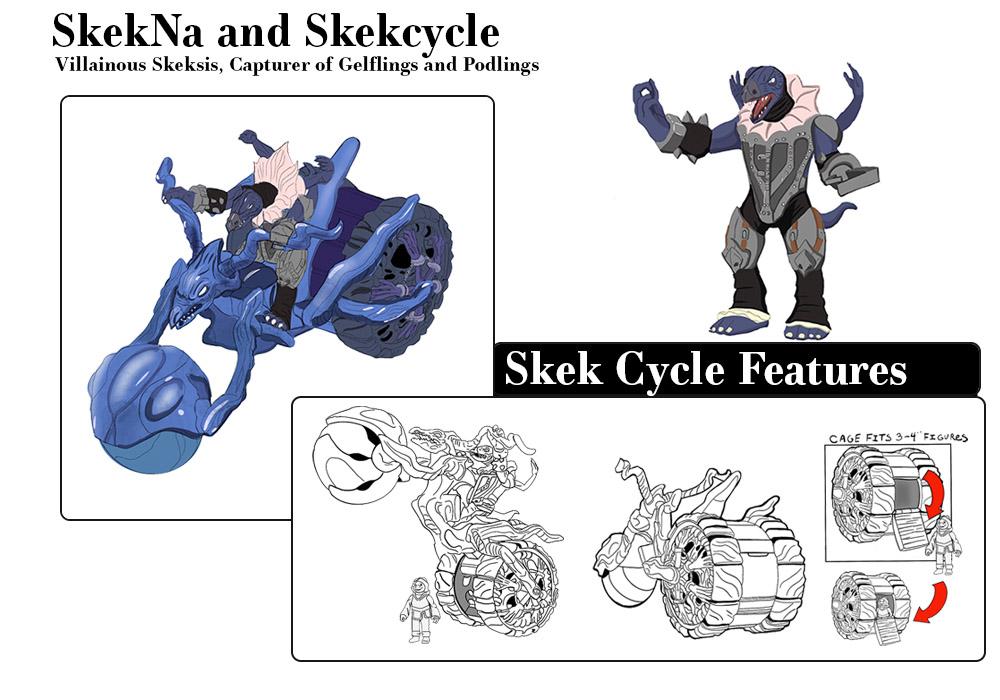 The character SkekNa is a villain in the Dark Crystal series most notably in the 1982 film