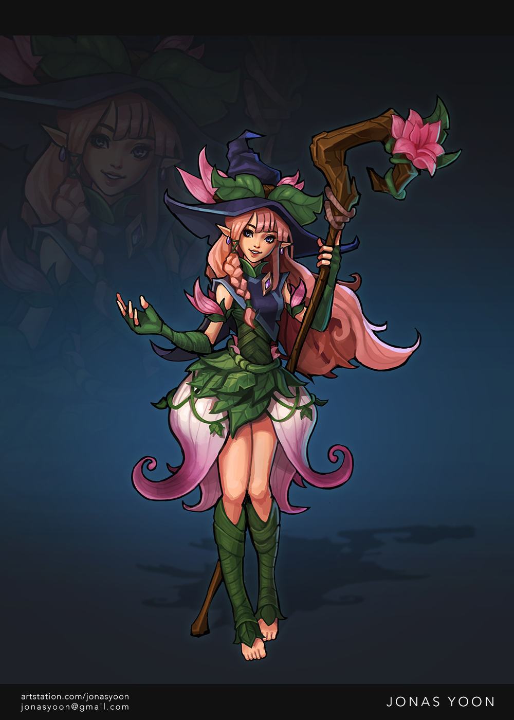 Small pink-haired girl, wearing a giant hat and holding a wooden staff.