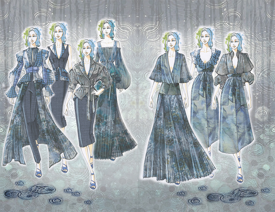 Outfit designs inspired by rainy garden