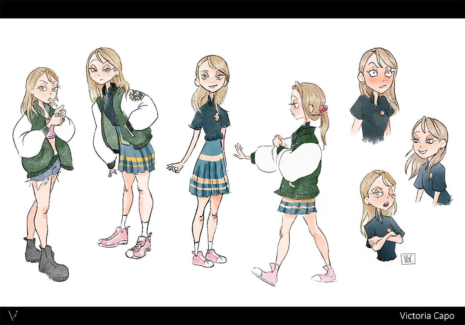 """Character exploration for Chloe, a student character from my thesis project """"Spirit Box""""."""