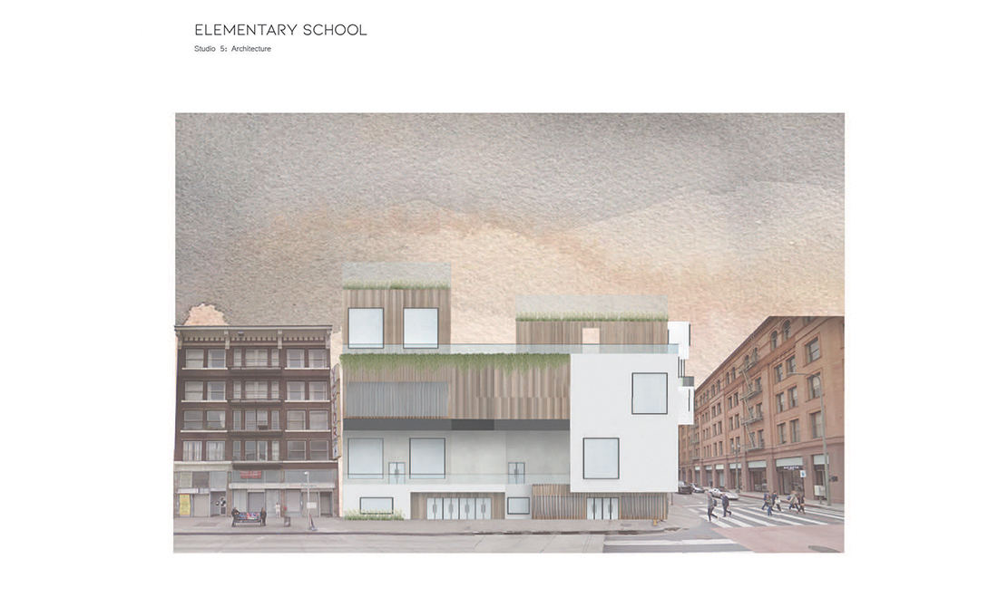 DTLA Elementary School - Front View