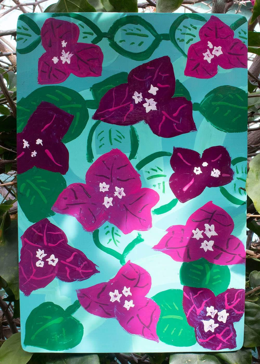 Magenta flower painted on aluminum panel.