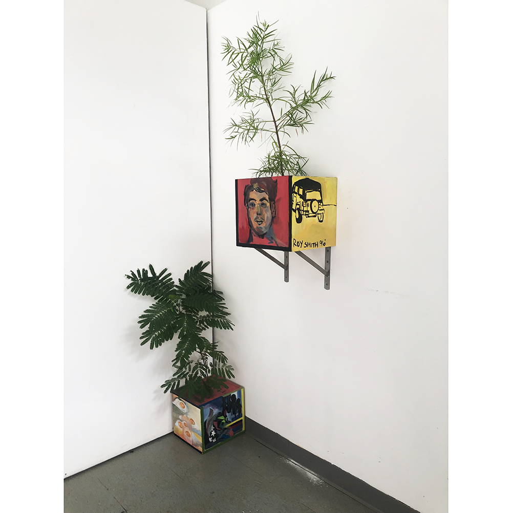 Installation of two painted boxes with plants; one on the ground and the other mounted on the wall.