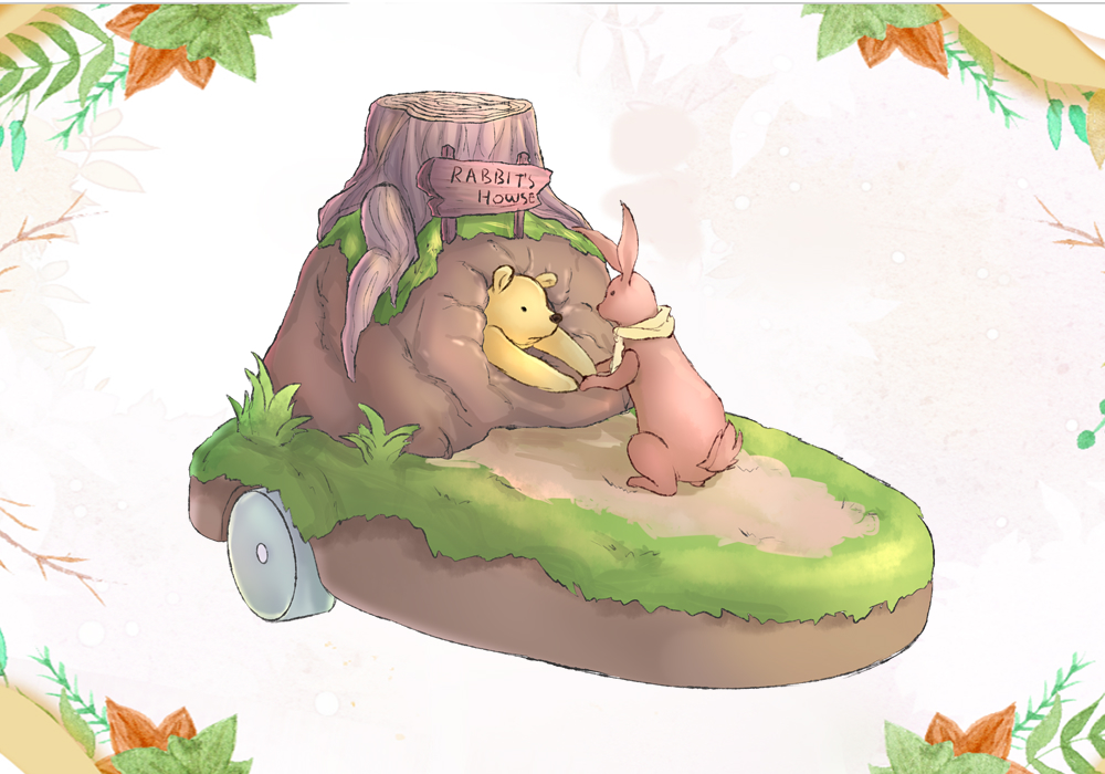 Pooh went to the rabbit's house, and ate too much honey, causing him to get stuck in the rabbit hole