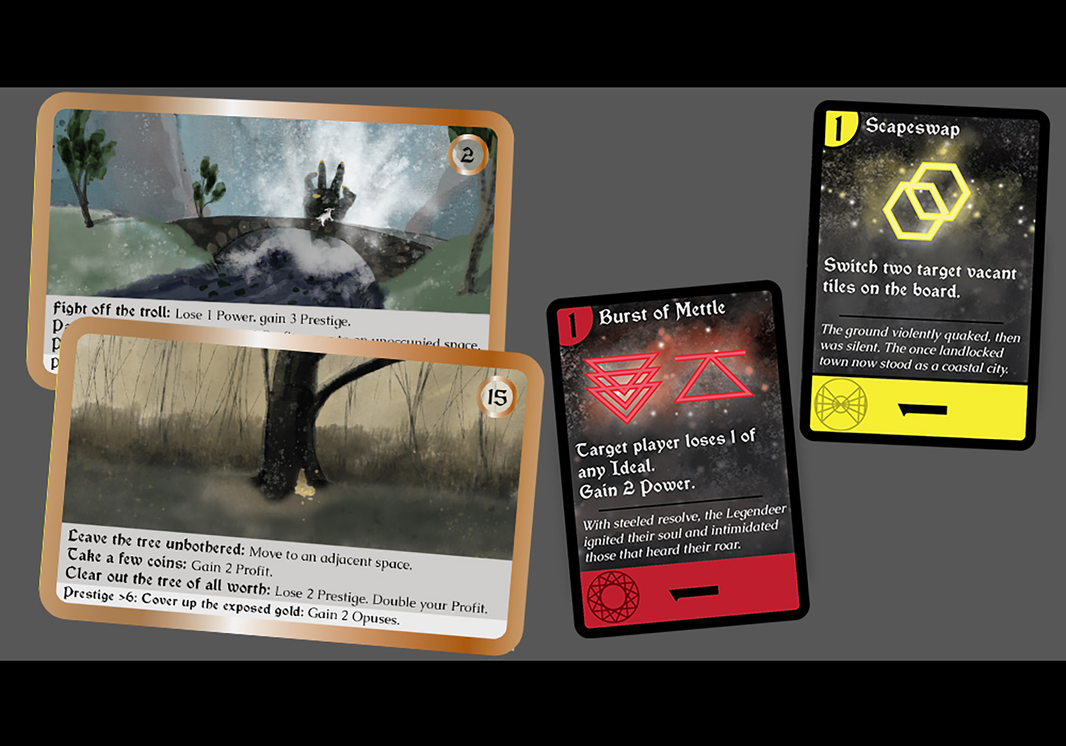 """A set of 4 cards from a fantasy game spread out. """