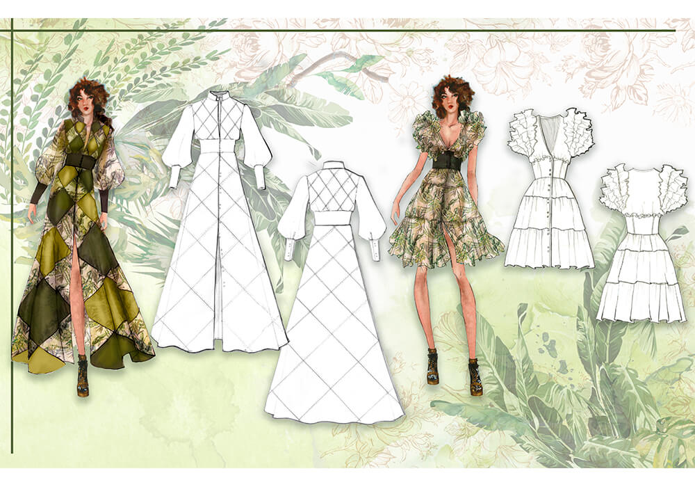 A lineup of the muses modeling the different designs for the collection.