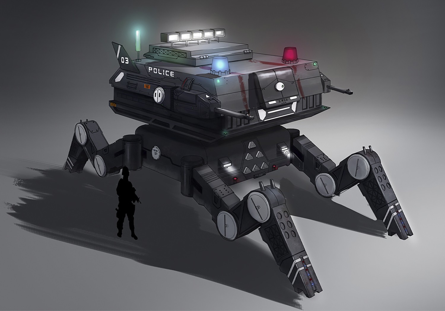 Police mech designed to control riots and mass surveillance.