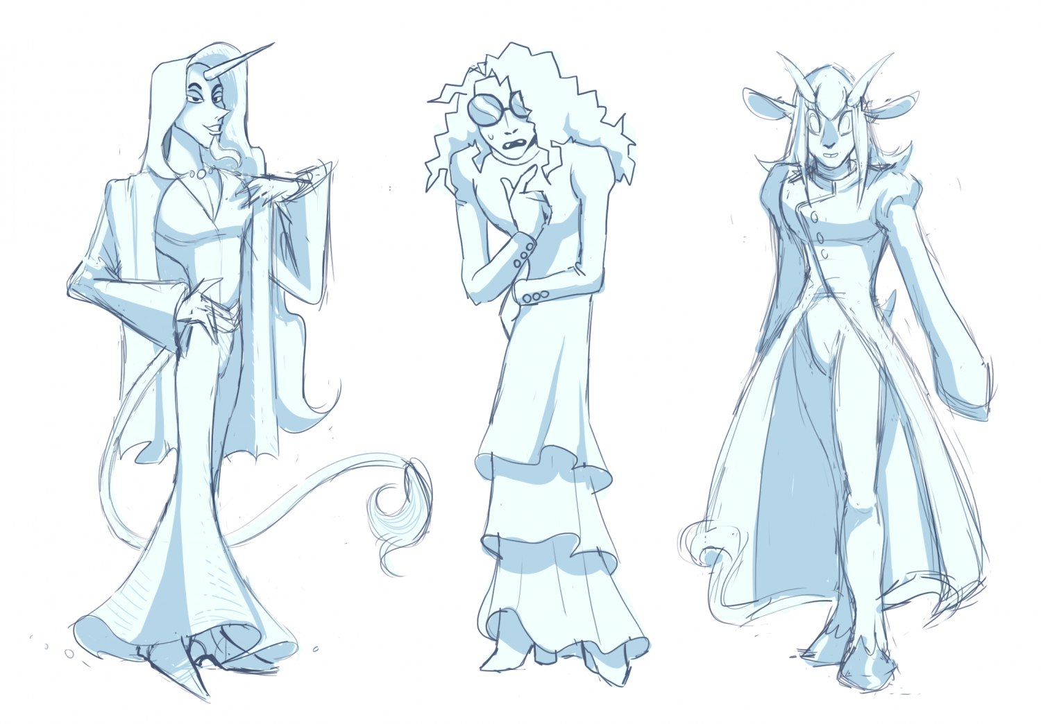 Character concept sketches for a wizard.