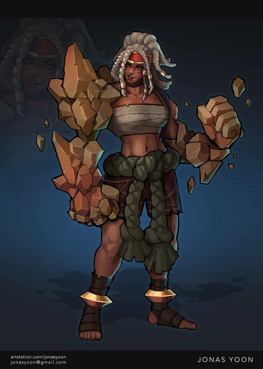 Muscular darker-skinned female with rock arms and white hair