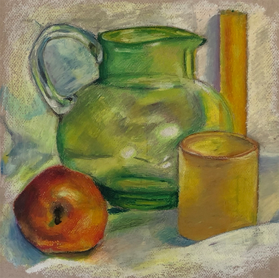 Oil pastel still life of a pitcher, apple, and 2 candles.