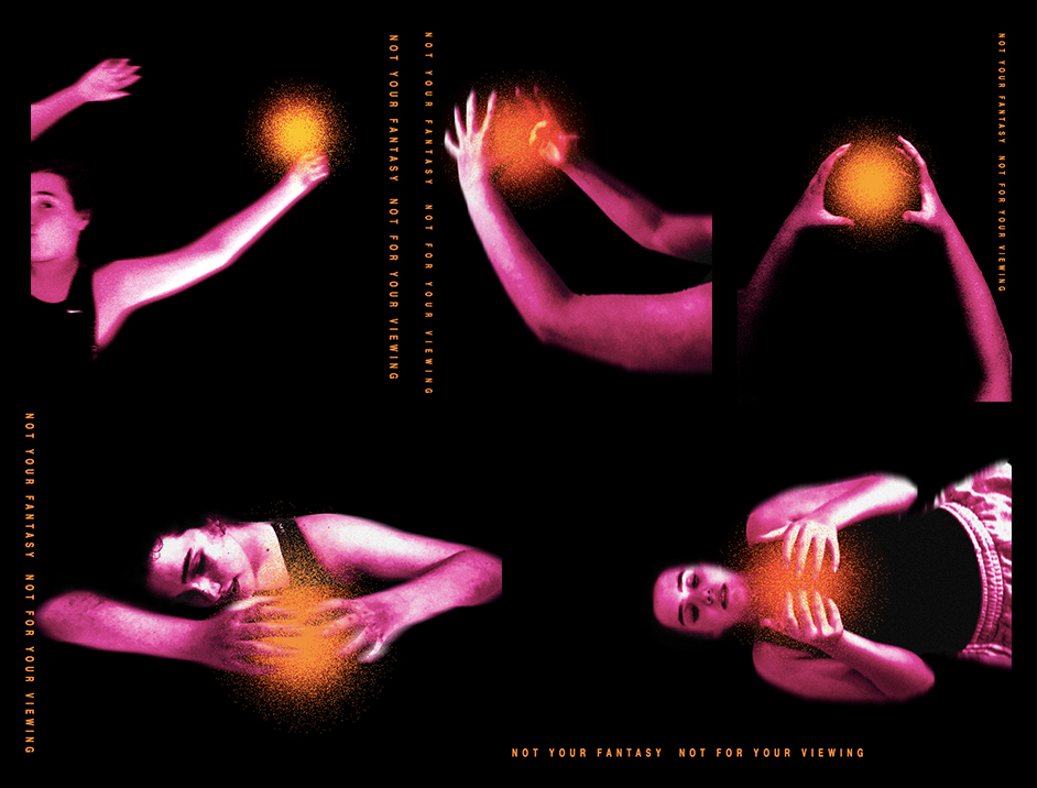 Images of a female presenting person in empty space reaching out towards an orange, textured orb, waiting to touch the orb.