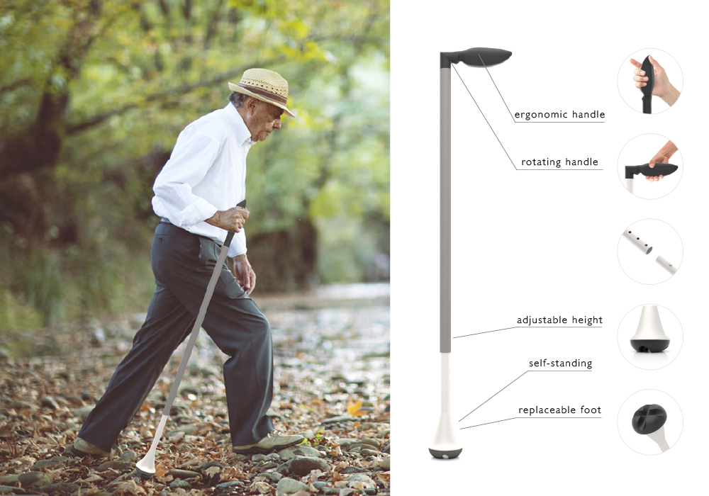 modular walking aid, that can be used as a cane and walking stick.
