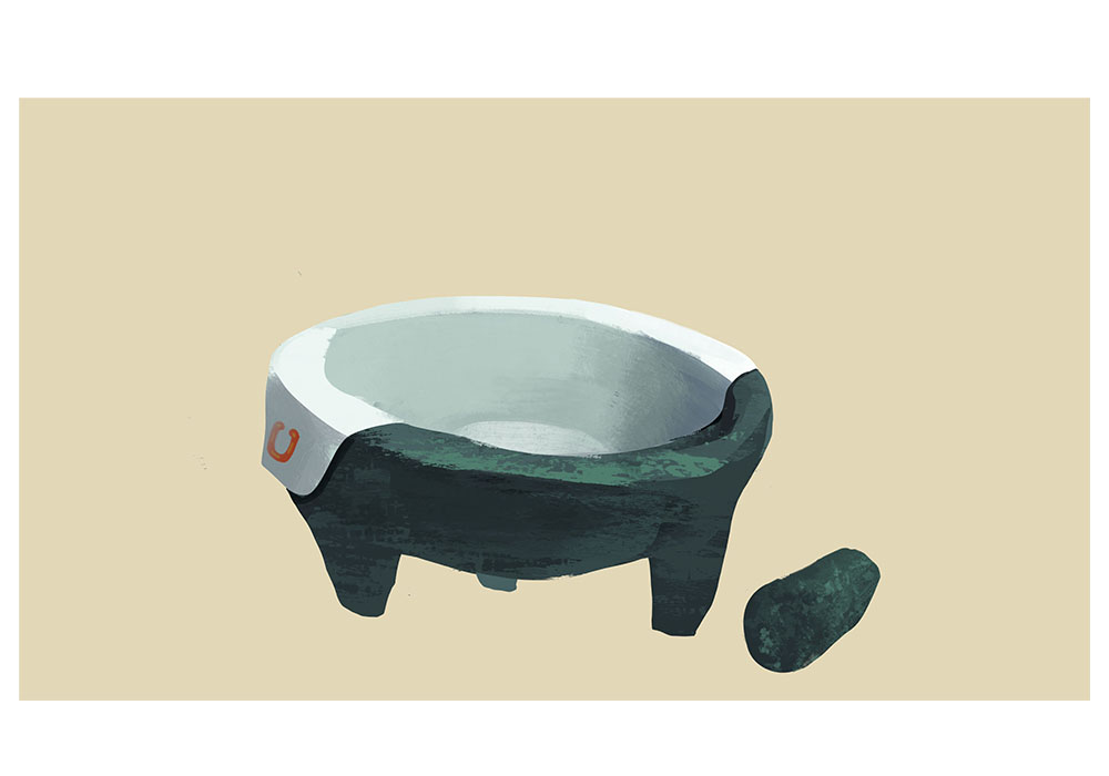 This is a molcajete, a Mexican mortar. This piece is part of my Capstone paper.
