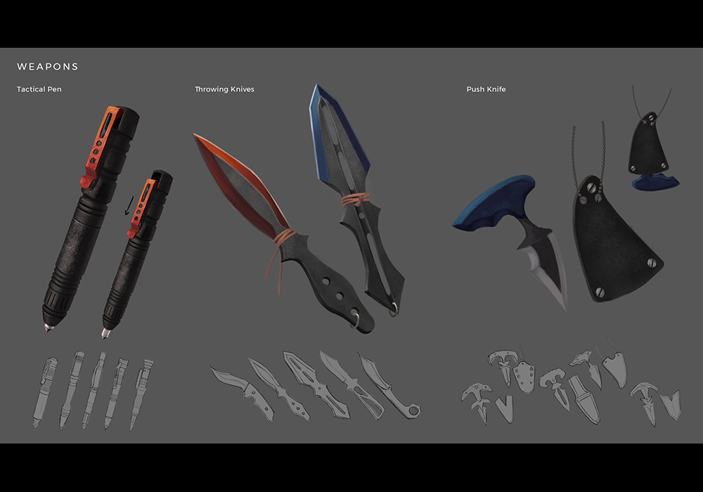 Weapon designs that Dawn uses to take down her enemies.