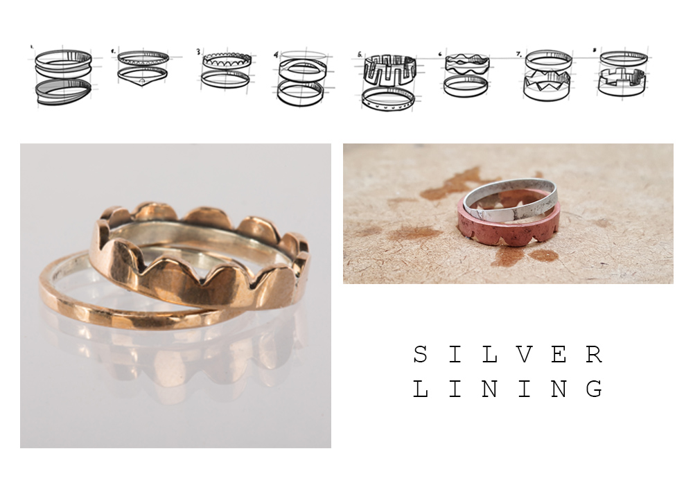 A set of two rings intending to be used as an engagement ring and wedding band set. The outsides of the rings are copper with a silver lining on the inside surface. The wider, decorative one has a scalloped edge, hand cut to create a decorative flair. The wedding band is a thin dainty band complimenting the engagement ring by being the third of the width of both of them stacked together. Being handmade these two are perfect in their imperfections.