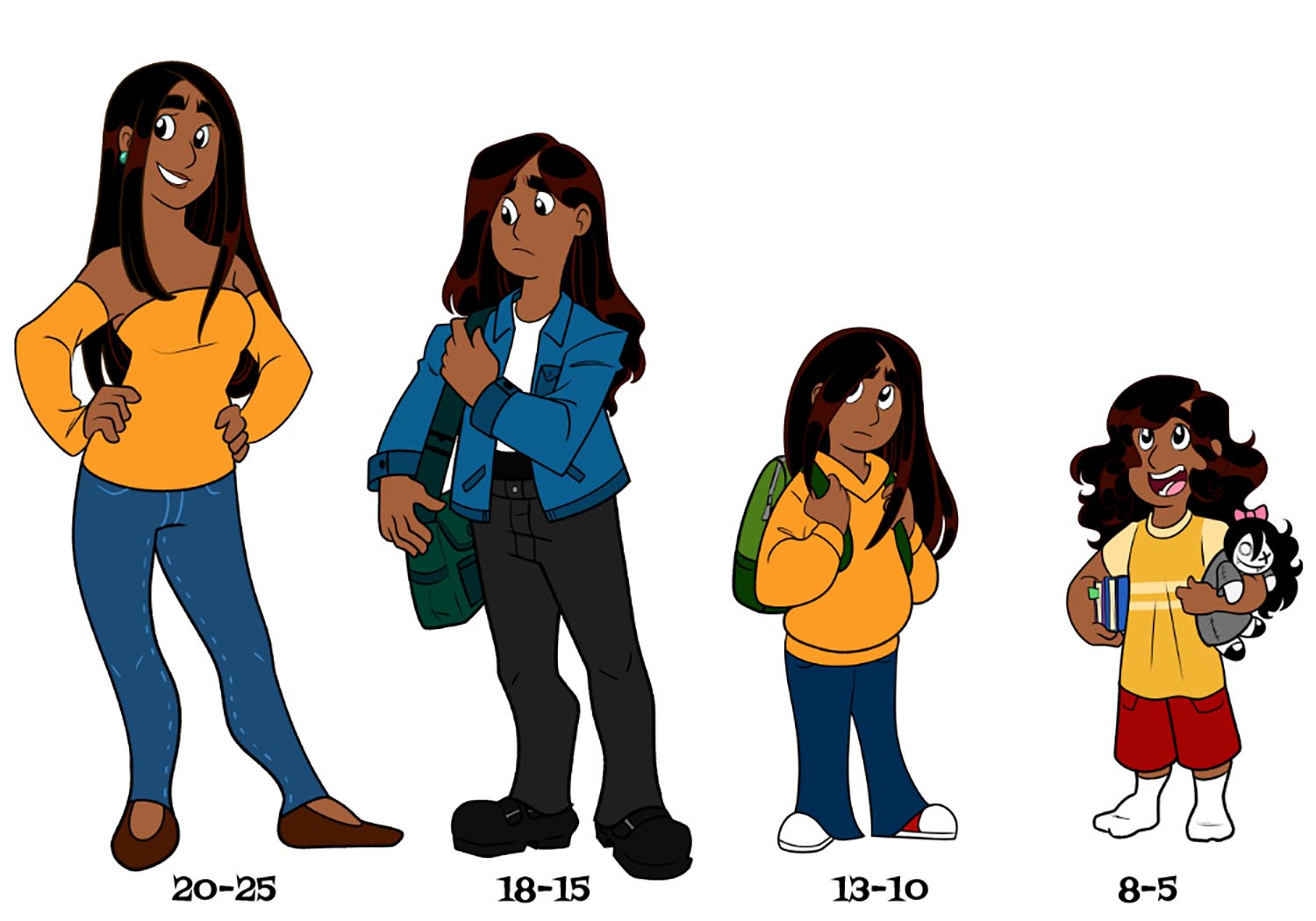 Drawing Raya in different ages was not to hard to illustrate because of how much I based her on how I grew up.