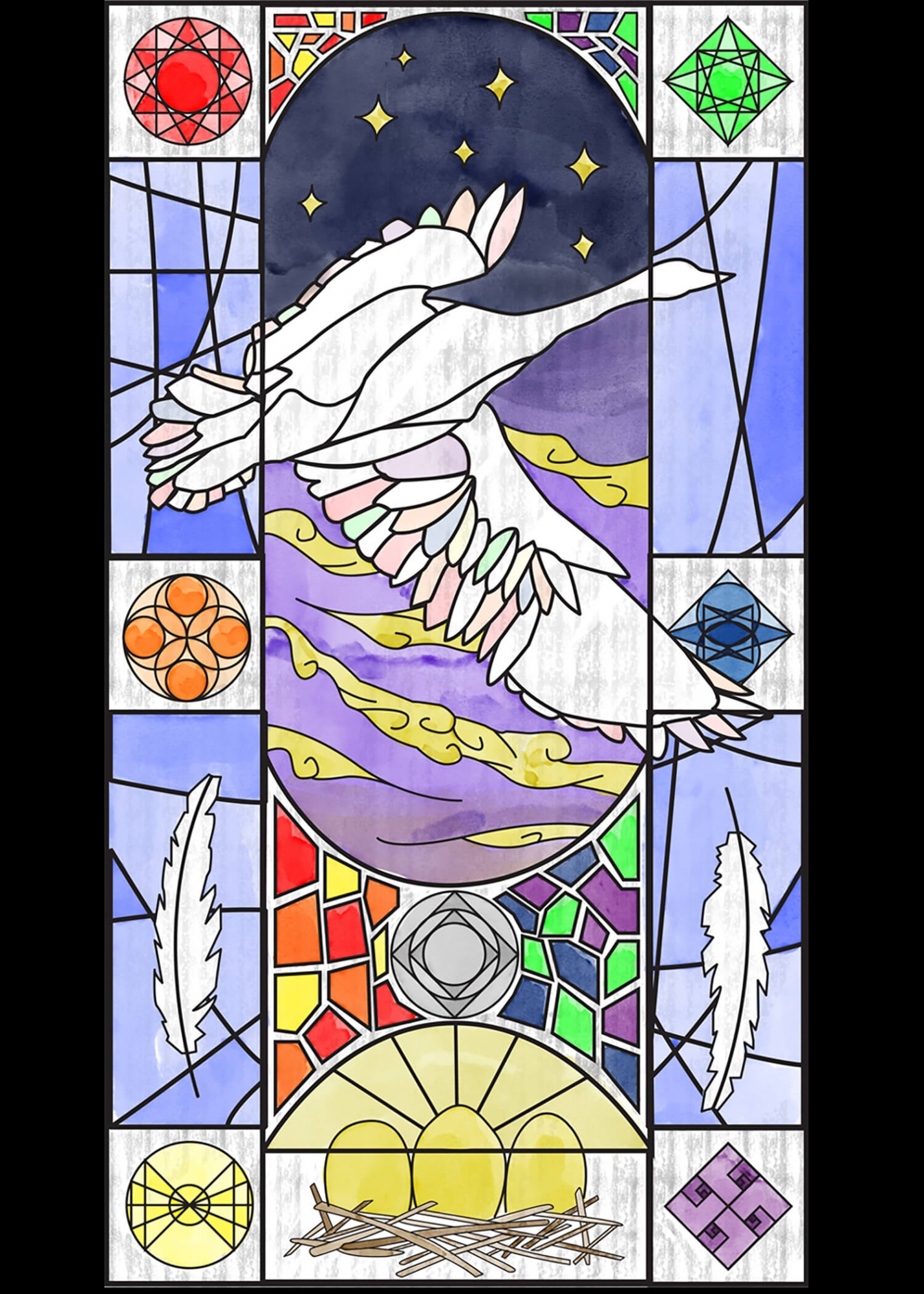 An illustration of a stained glass window, featuring a goose, feathers, and eggs.