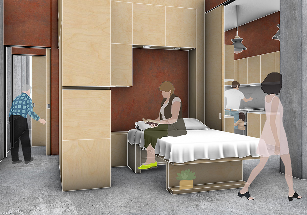 This image depicts what the living space looks like when it is being used as a bedroom. The bed has been pulled down from the wall and in the distance we can see a man cooking with his child in the central kitchen.