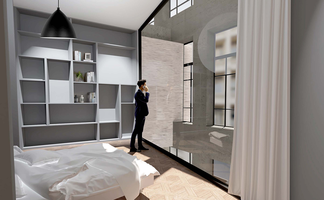 Interior rendering of one of the units in the CO-LIFE apartment building