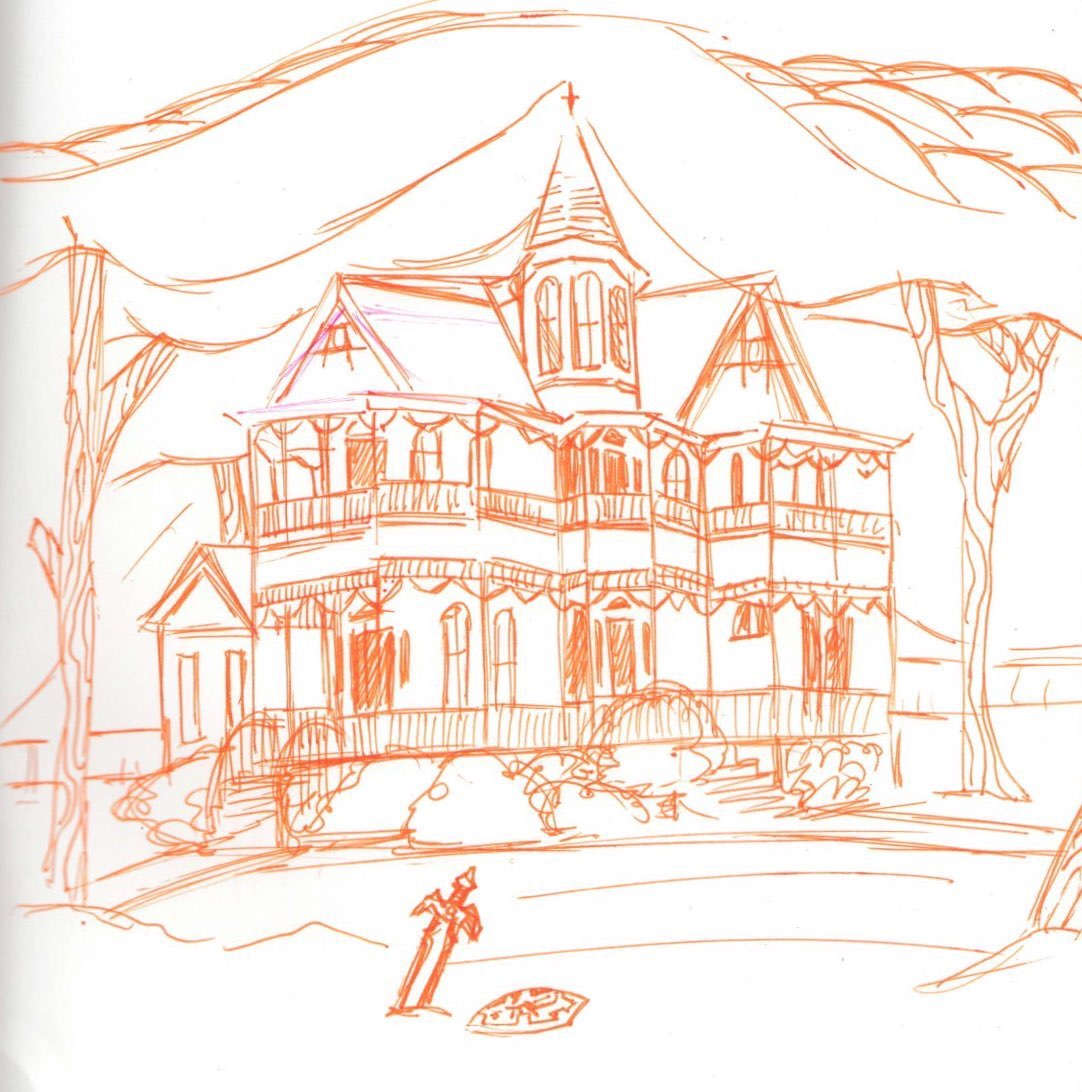 A line drawing of a house