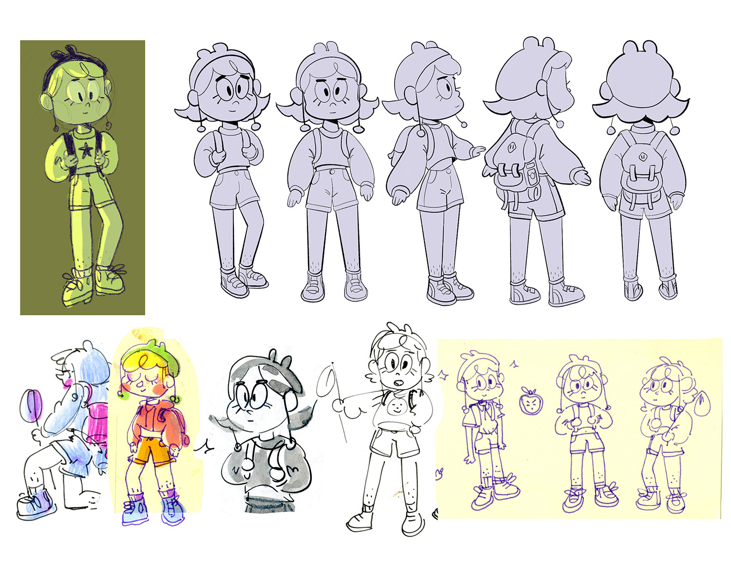 """camper character design turnarounds """"clementine"""" - mixed media"""