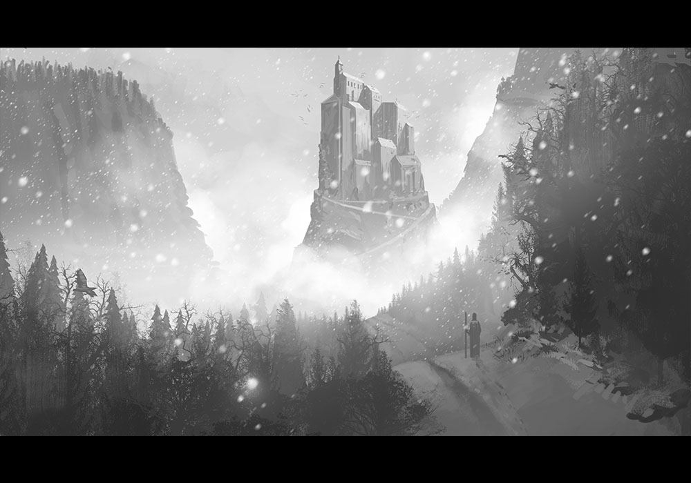 Environment painting of a man making his way to a distant castle.