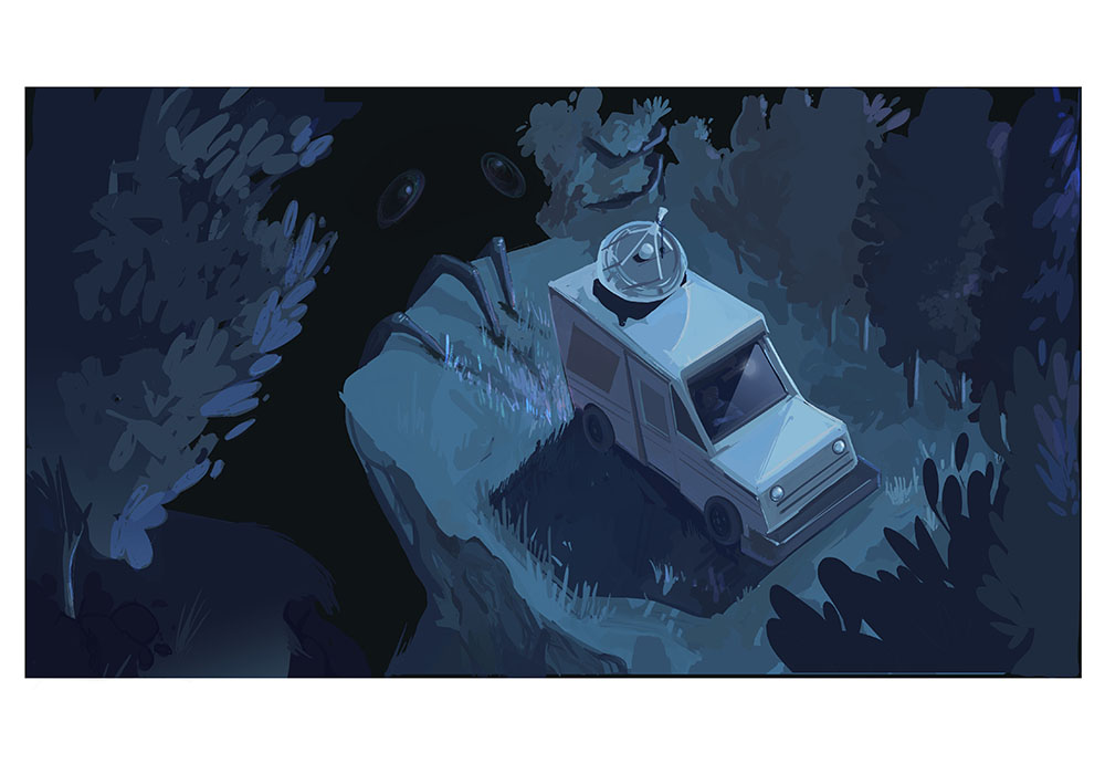 Illustration piece of augmented mail truck stuck in a forest with a monster creeping behind.