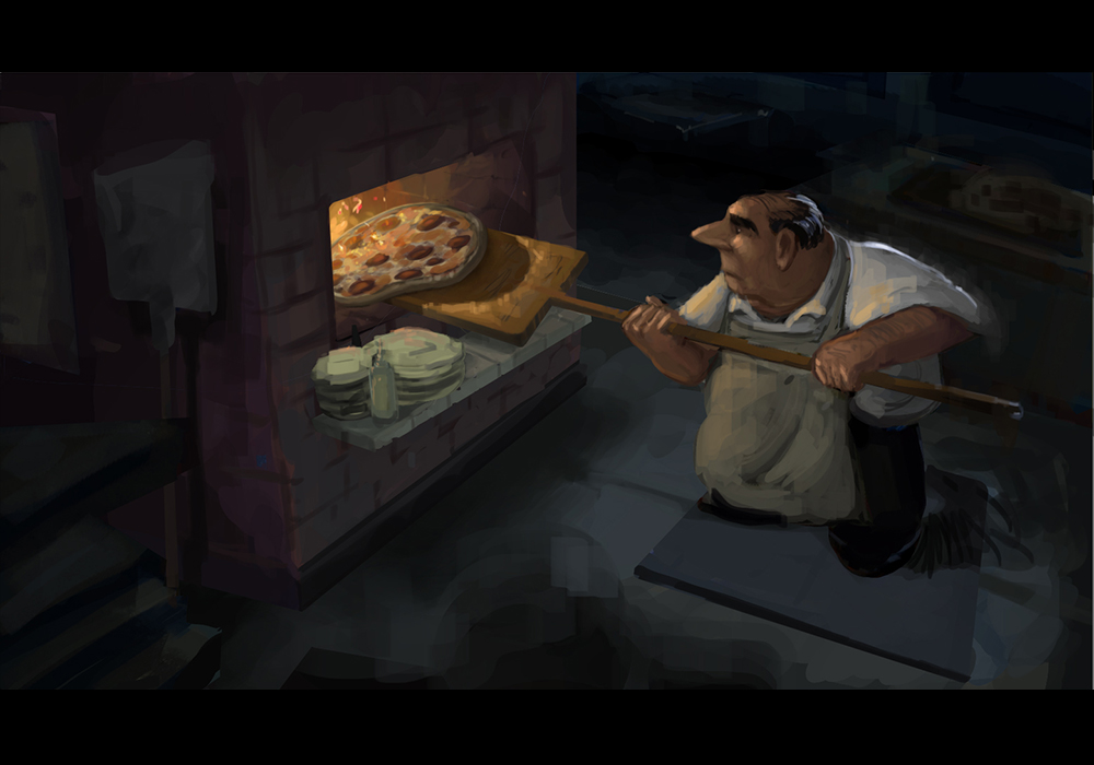 Oscar loves to make pizza.