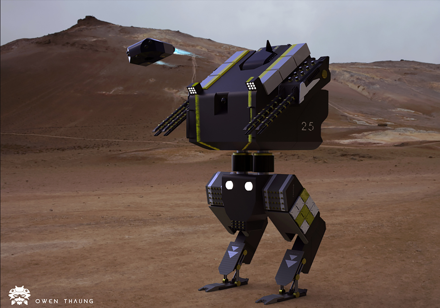 Military mech equipped with particle guns. It is equipped with a drone to scout the area