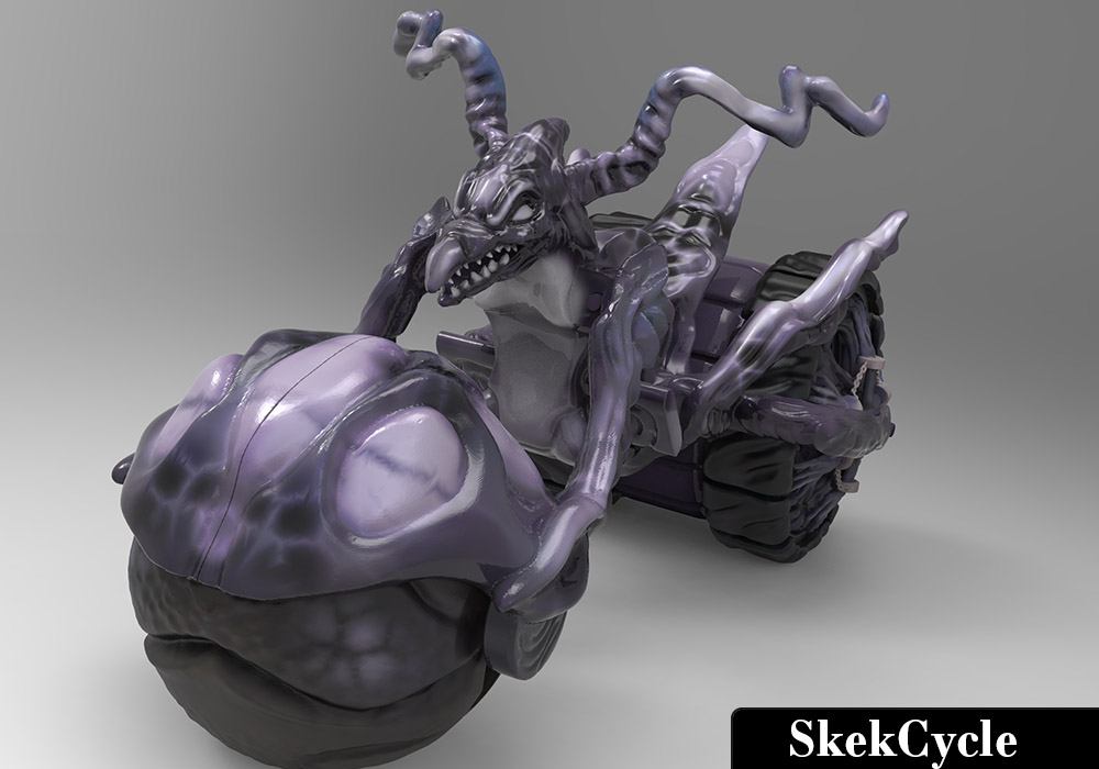 SkekCycle Vehicle sculpted and painted in Zbrush and rendered in Keyshot