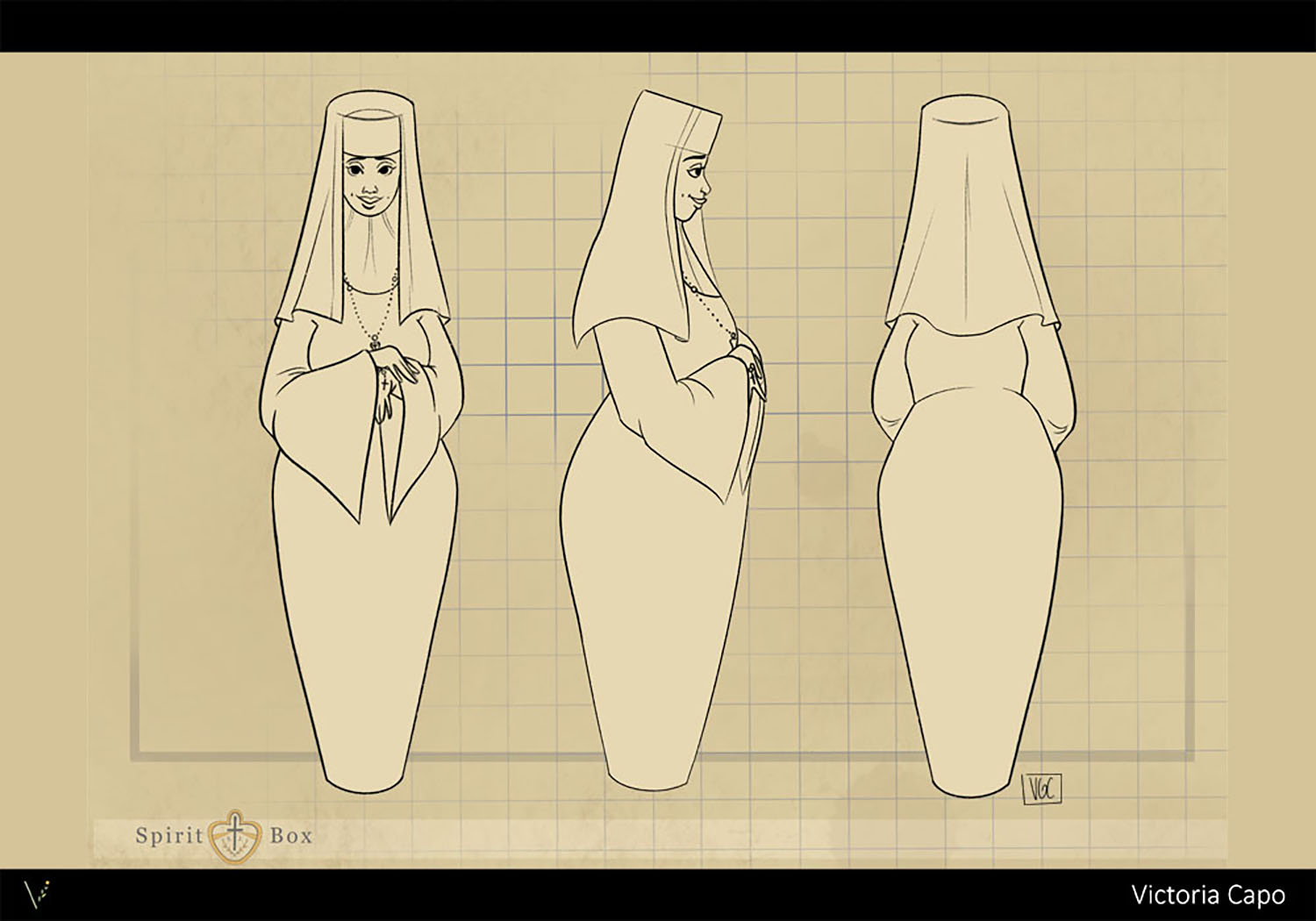 """Character turn-around for Sister Perpetua, a nun and teacher character from my thesis project """"Spirit Box""""."""