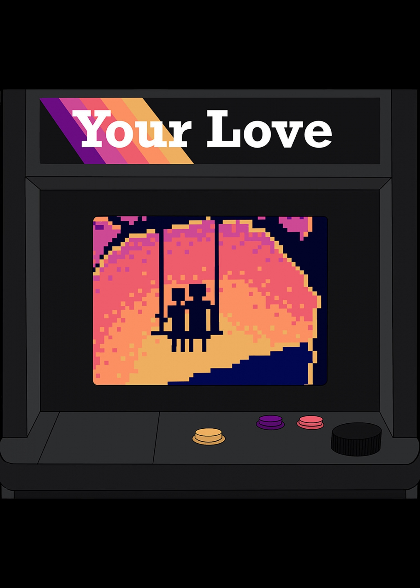 Pixel art of a couple looking at the sunset on a old style gaming console.