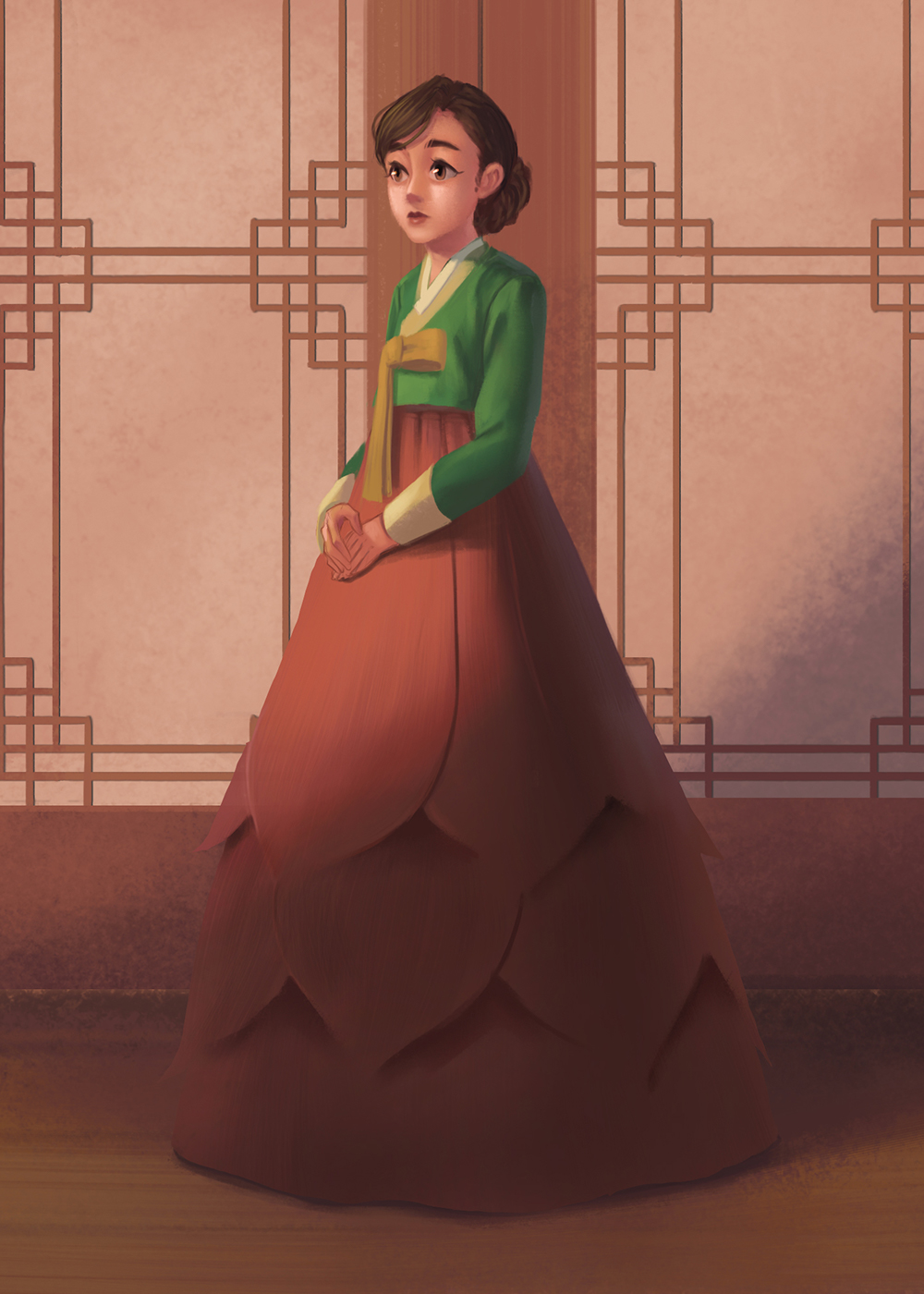 Shimchung standing in the sunset with her lotus dress