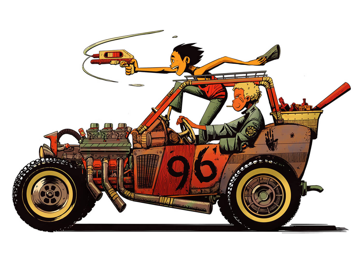Two Boys in a Rat Rod