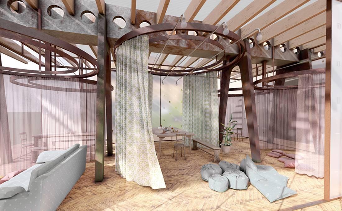 Studio 3 Venice Social Popup Interior Rendering