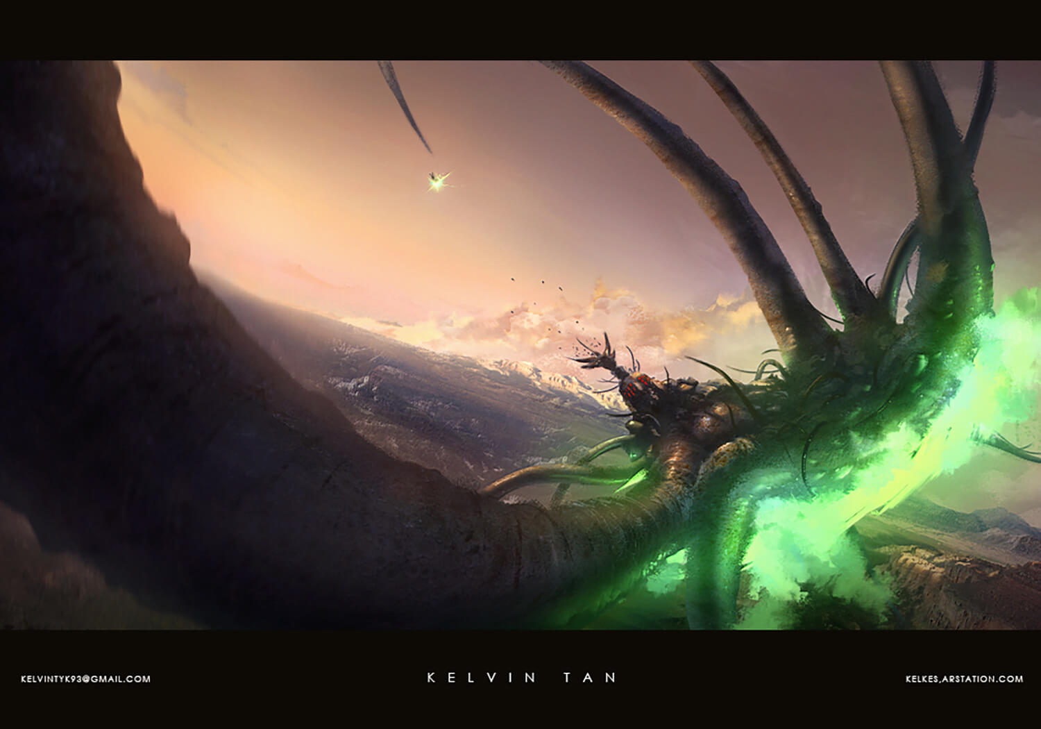 Keyframe illustration of a Kalderian shaper facing down a monstrosity spawned from the Forges.