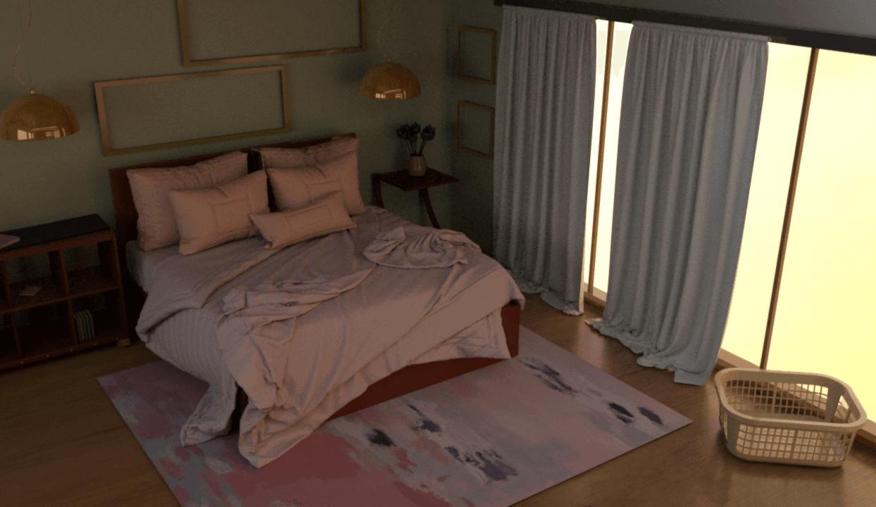 A 3D rendered bedroom