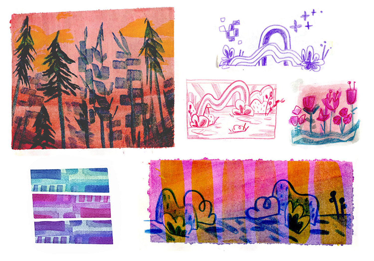 selected vegetation concept designs - gouache and mixed media