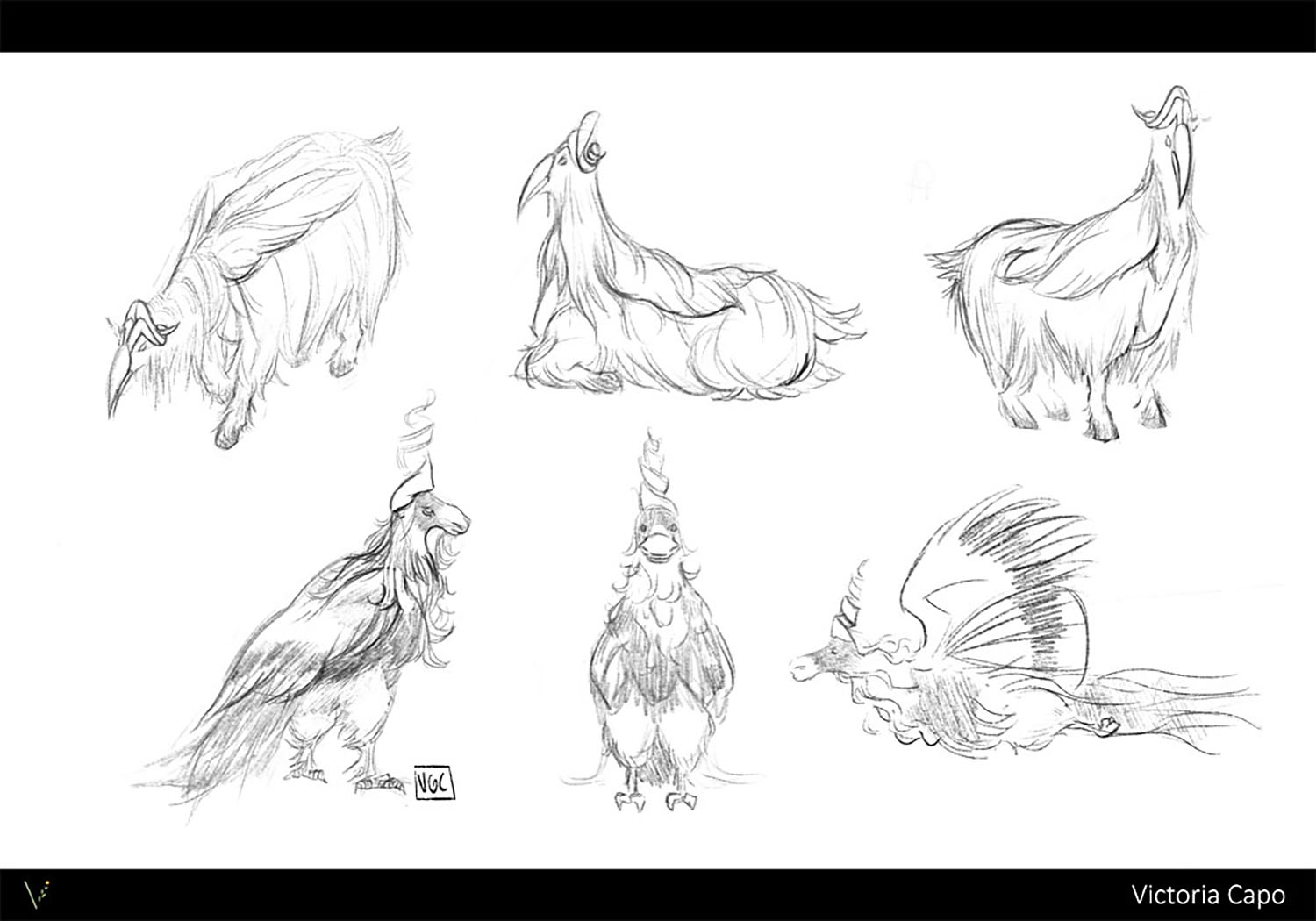 Ideation for a creature hybrid of a markhor goat and a hornbill bird.
