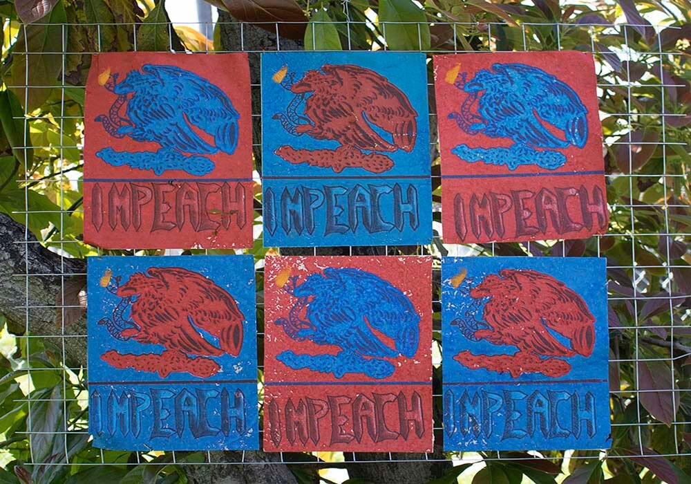"""Six panels in blue and red, each containing an eagle and serpent with the word """"Impeach."""""""