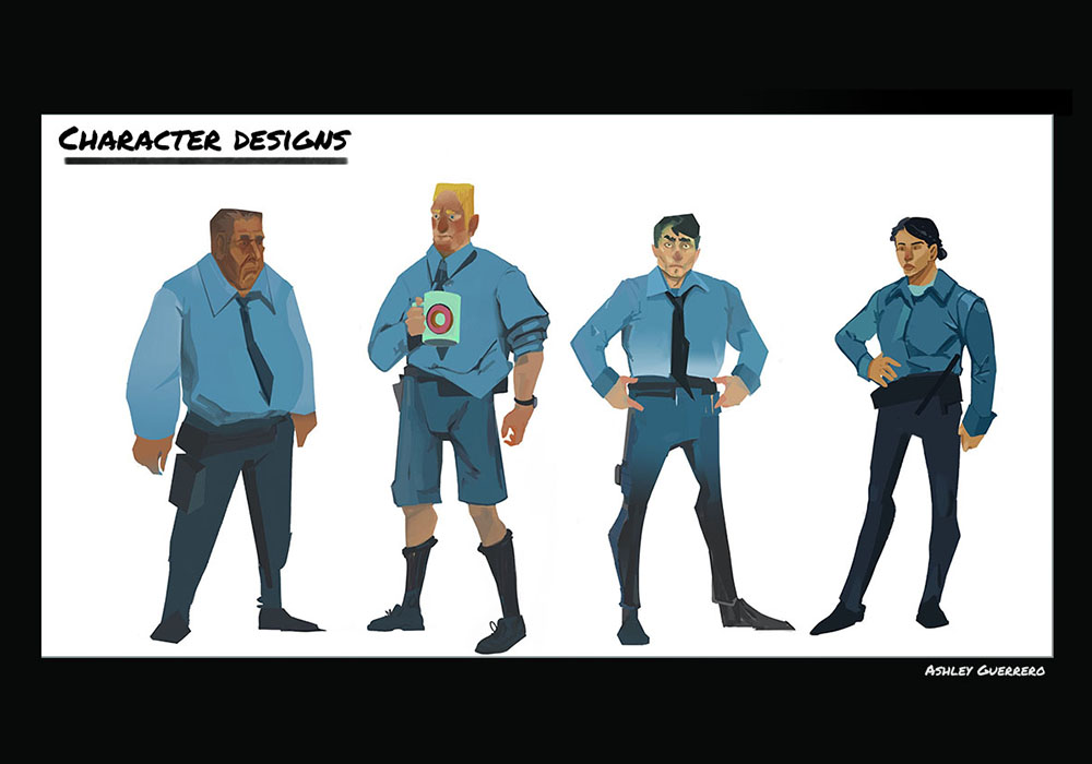 Concept piece based off of the book Dry Bones in The Valley. Here are ideations of the main character in the book, the policeman.
