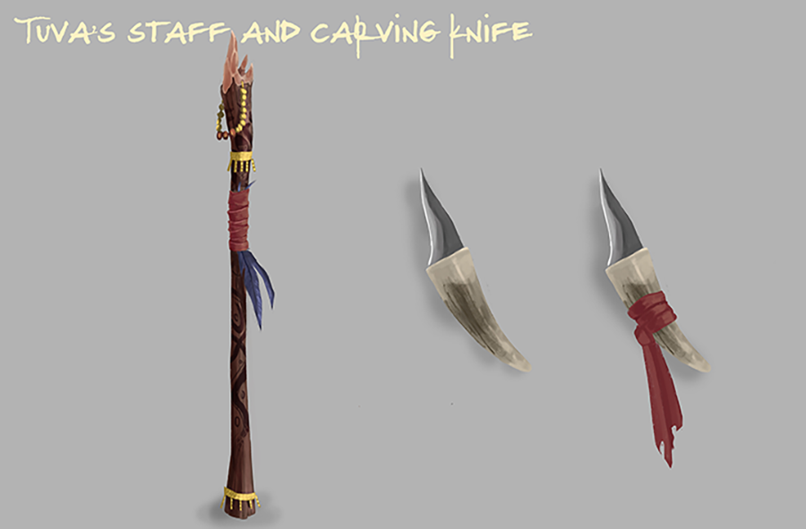 """""""Long Staff Decorated in many different carvings, and a small knife made of what seems to be bone meant for carving."""""""