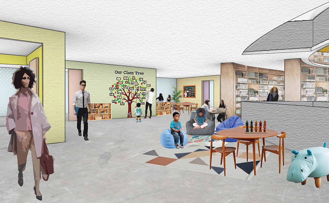 The Commons - View of Classroom area with shared multipurpose spaces